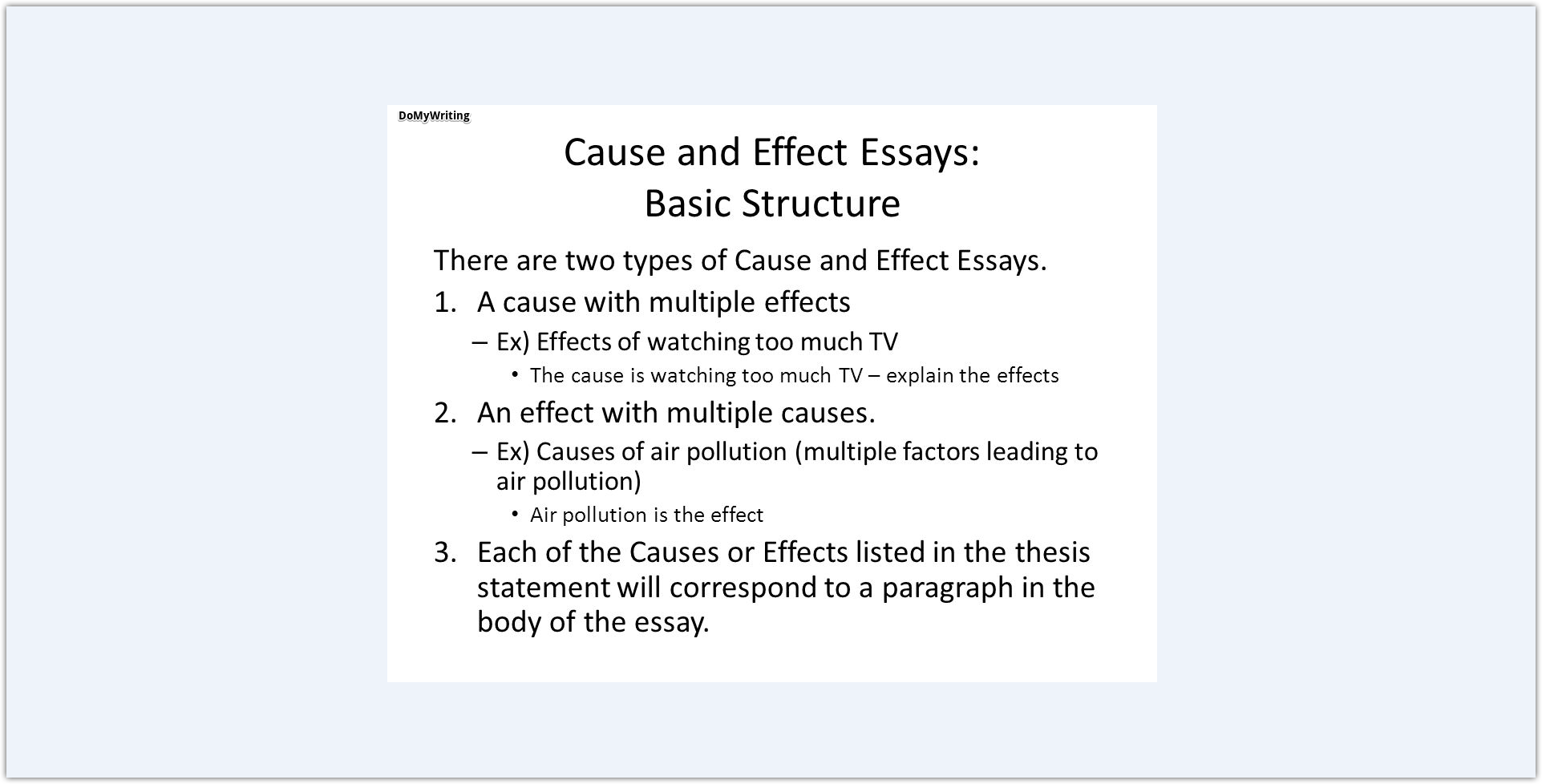 The best cause and effect essay