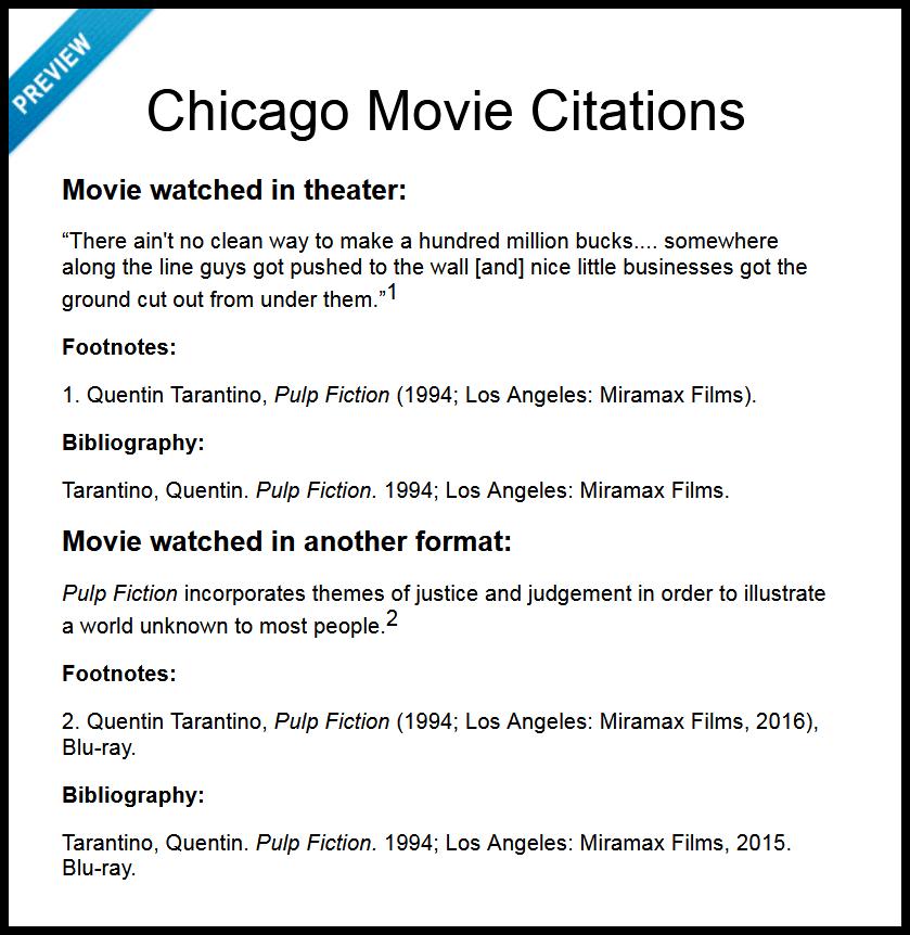 Chicago Movie Citations
