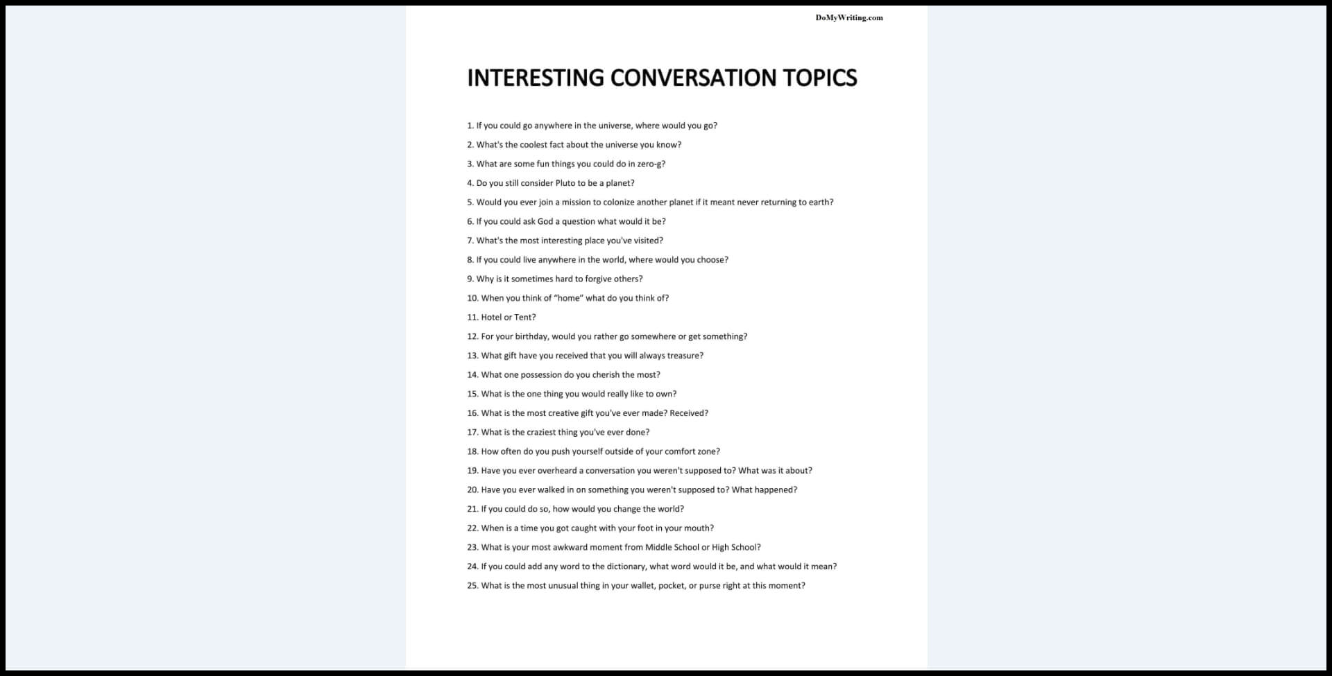 Interesting Conversation Topics