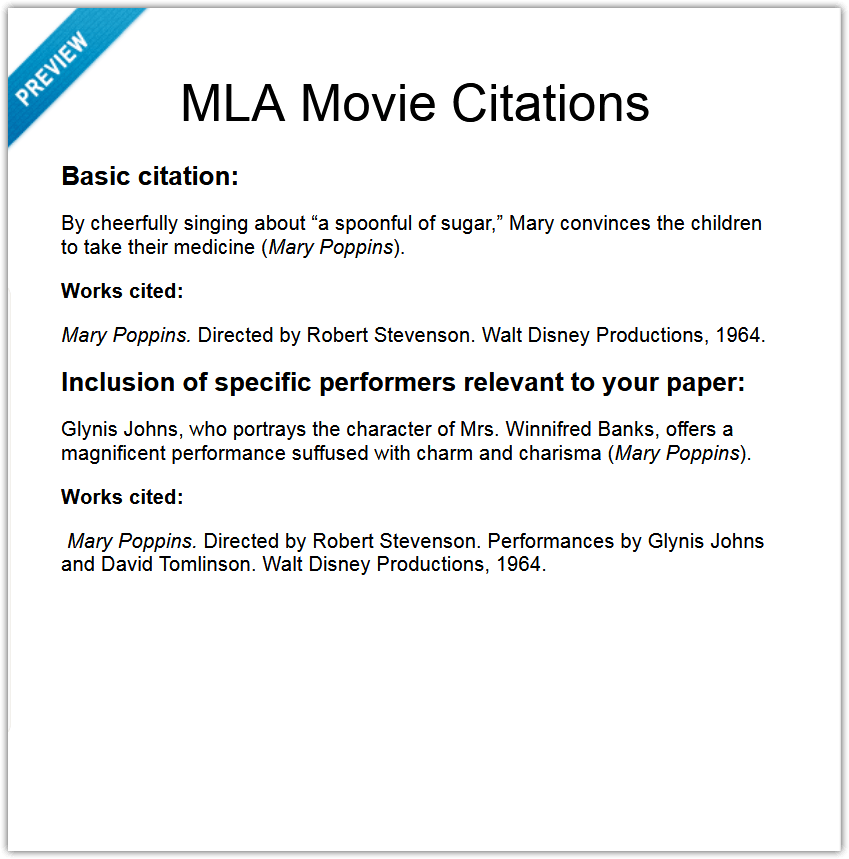 MLA Movie Citations