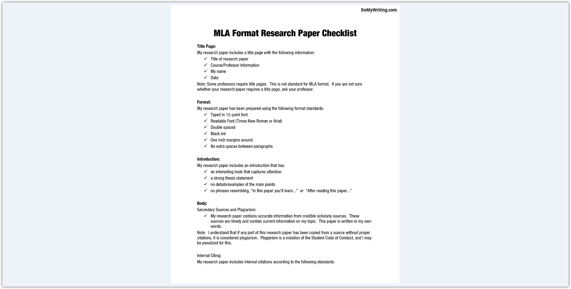 mla format for essays example