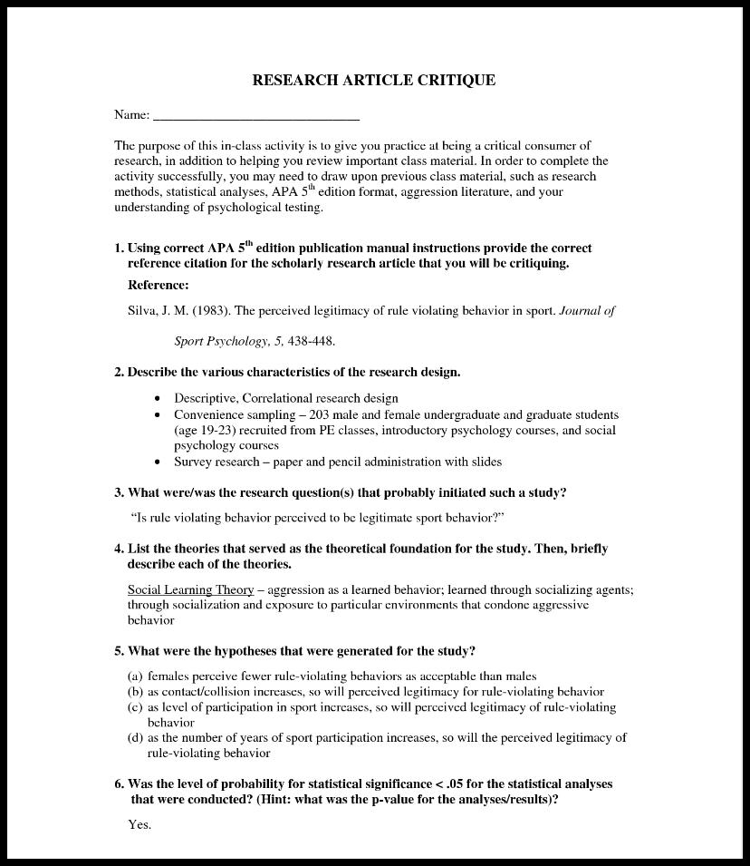 Article critique essay