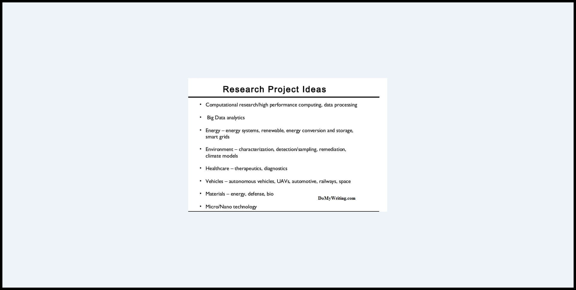 Research Project Ideas