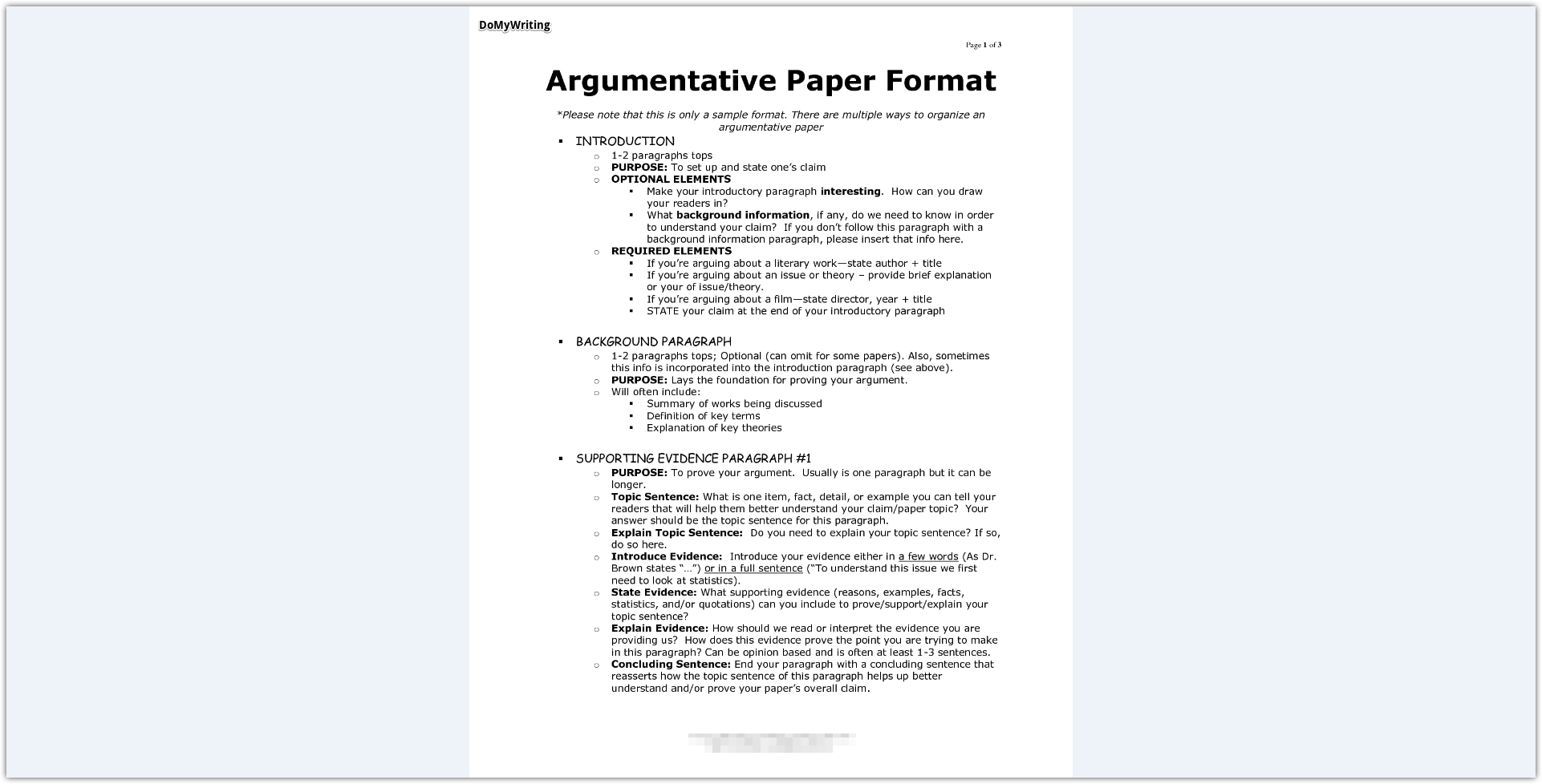 Argumentative Essay Sample