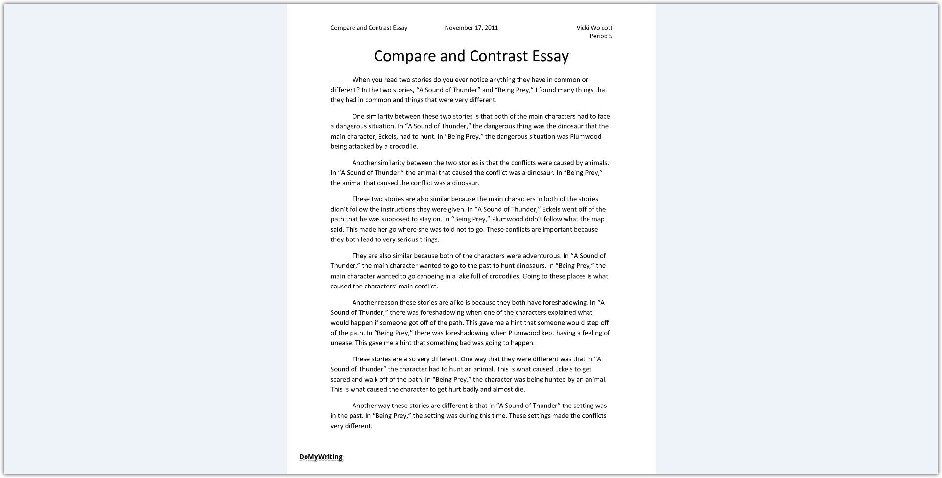 Compare And Contrast Essay Examples For High School  Essay Examples For High School Students also Thesis Example Essay Guided Writing A Winning Compare And Contrast Essay English Literature Essay Structure