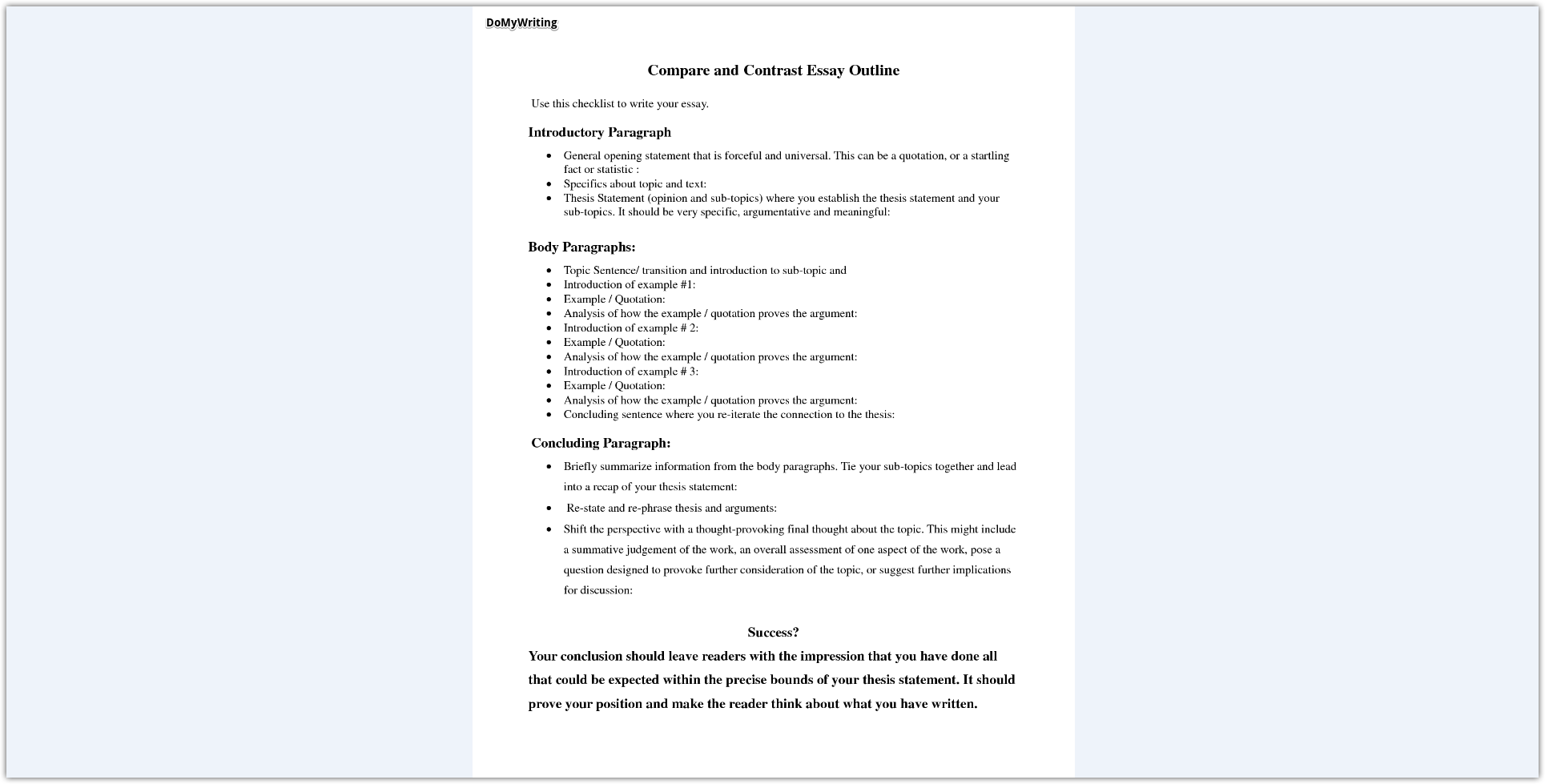 Guided Writing A Winning Compare And Contrast Essay