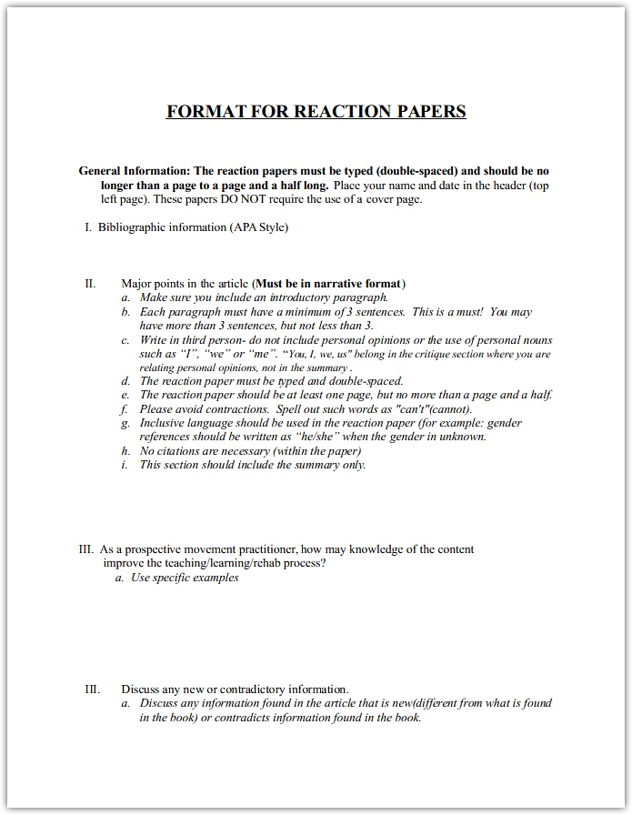Format for Reaction Paper